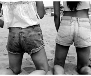 girl, shorts, and beach image