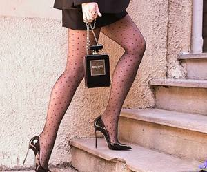 black heels, chanel bag, and style image
