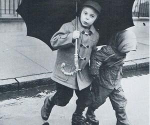 black and white, childhood, and umbrella image
