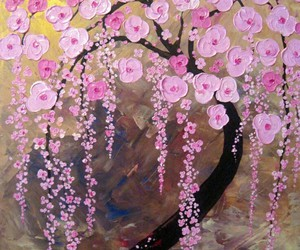 canvas print, tree of life, and pink cherry blossoms image