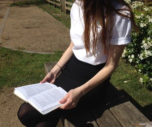 girl, pale, and book image