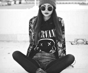 nirvana, girl, and black and white image