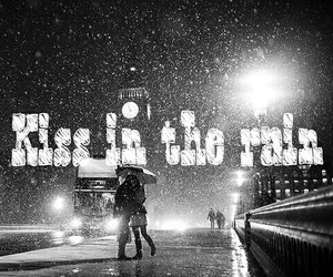 beautiful, couples, and kiss in the rain image