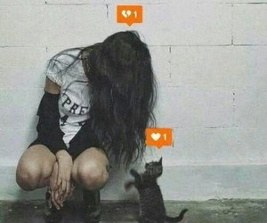 cat, heart, and grunge image