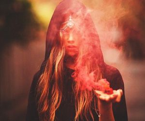 blonde girl, smoke, and witch image