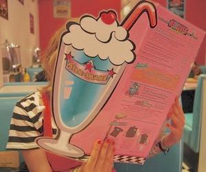 menu, milkshake, and pink image