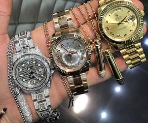 gold, watch, and diamonds image