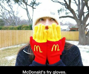 gloves, fries, and winter image