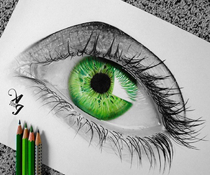 green, drawing, and eye image