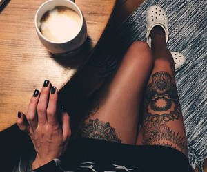 coffee, girl, and tattoo image