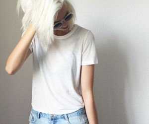 white, hair, and outfit image