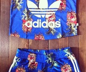 adidas, flower, and blue image