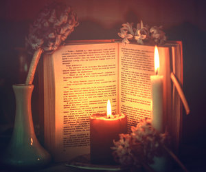 books, witchcraft, and candles image