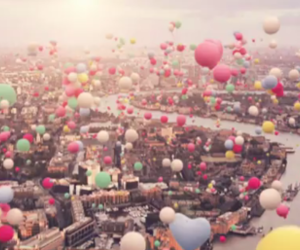balloons, city, and pink image