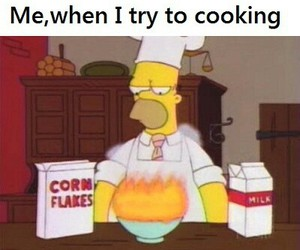 funny, The Simpson, and me trying to cook image
