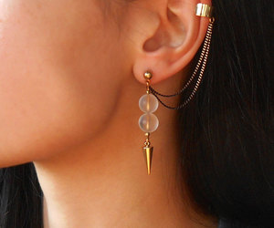 chain, crystal, and earrings image