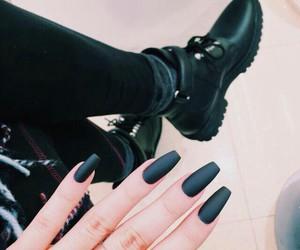 nails, black, and fashion image