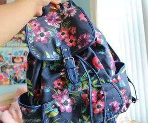 flowers, bag, and backpack image