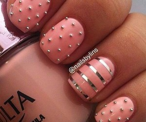 gold, rosa, and nail art image