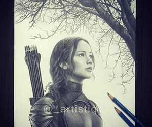 katniss everdeen, Jennifer Lawrence, and drawing image