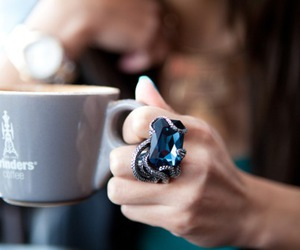 ring, blue, and coffee image