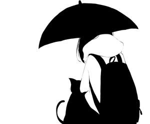 cat, girl, and manga image