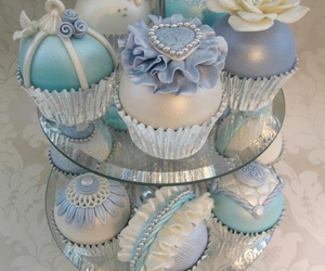 blue, cake, and cupcakes image