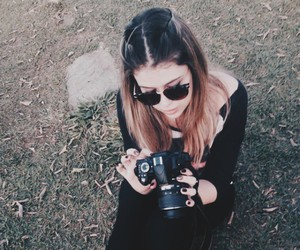 black, camera, and girl image