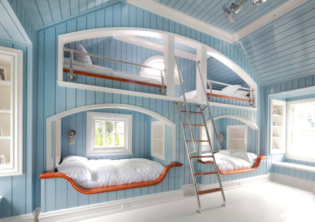 Picture of: Bedroom Kids Bedroom Fancy Light Blue Wood Linen Wall Kid Picture Ideas With Picturesque Bunk Beds On Combined Comfortable White Bed Sheets And Modern Dark Metal Ladder Also Splendid Sleek Ceilings C