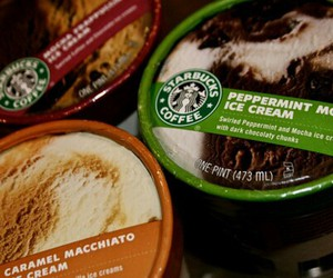 food, ice cream, and starbucks image