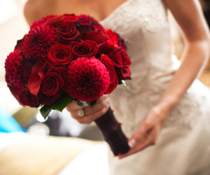 flowers, wedding, and red image
