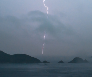 lightning, sea, and storm image