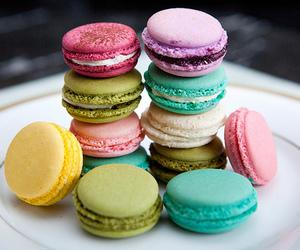 food, macaroons, and macarons image