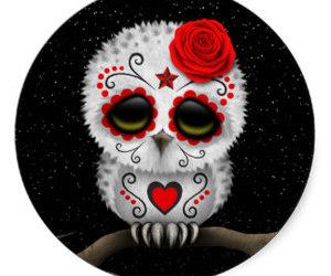 owl, sugar skull, and tattoo image