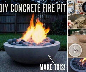 diy, fire pit, and concrete image