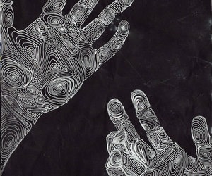 black and white, hands, and linework image
