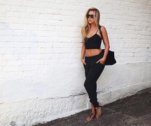 fashion, girl, and black image