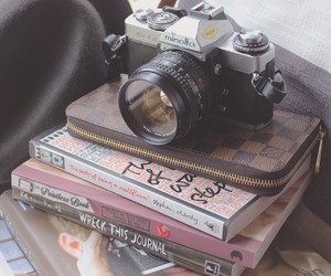 book, camera, and life image