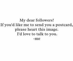 postcard, followers, and heart image
