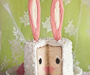 cake, pink, and rabbit image