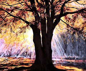 canvas, Oil Painting, and tree image