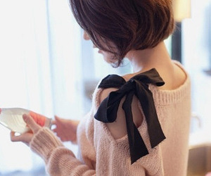 sweater, bow, and pink image