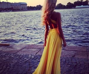dress, yellow, and girl image