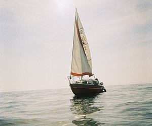 sea, boat, and ocean image