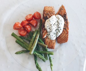 asparagus, healthy eating, and salmon image