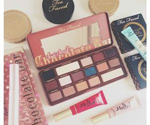 chocolate bar, make up, and too faced image