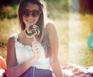 girl, lollipop, and glasses image