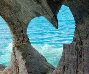 heart, sea, and beach image