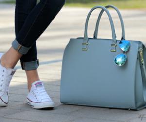 sunglasses, bag, and converse image