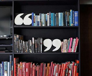 book, bookshelf, and quotation marks image